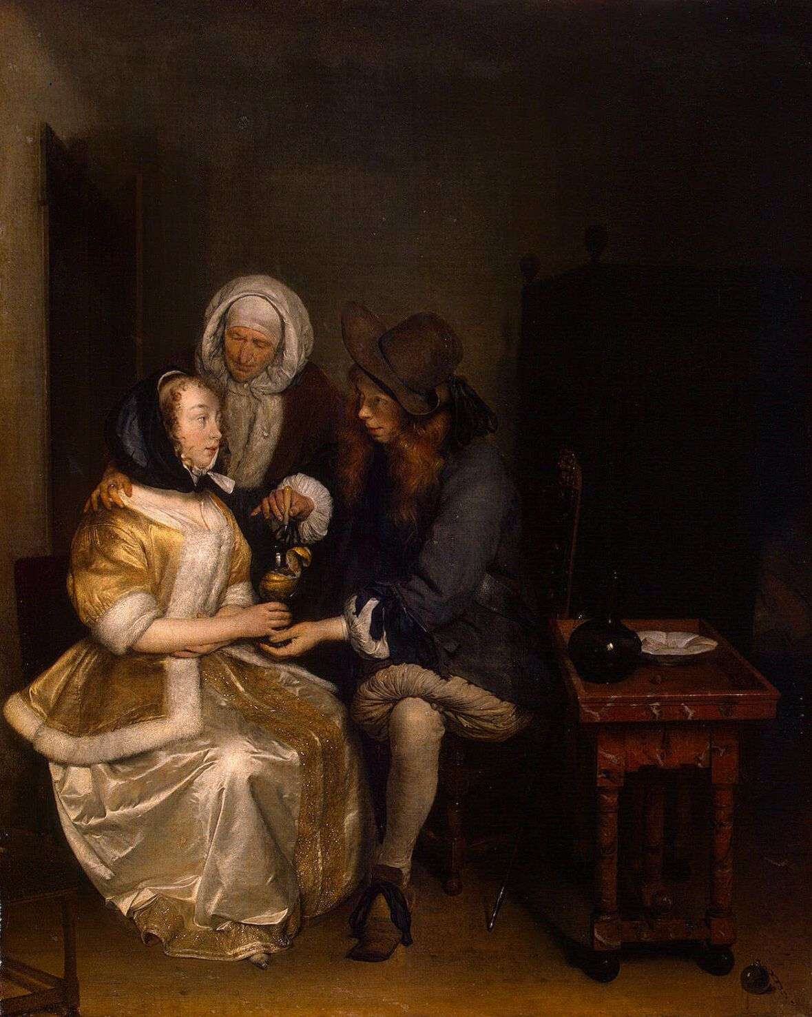 GERARD TER BORCH ( Zwolle 1617 - Deventer 1681 ). A GLASS OF LEMONADE. oil on canvas. 67 × 54 cm. Provenance : 1814, Malmaison, acquired by Hermitage from the Empress Josephine Collection . St. Petersburg. Hermitage. Inv. No. 881.