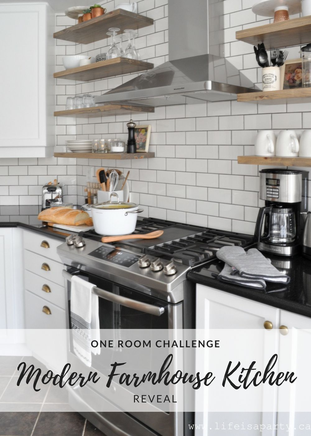 Best Modern Farmhouse Kitchen Makeover Painted Cabinets White 400 x 300