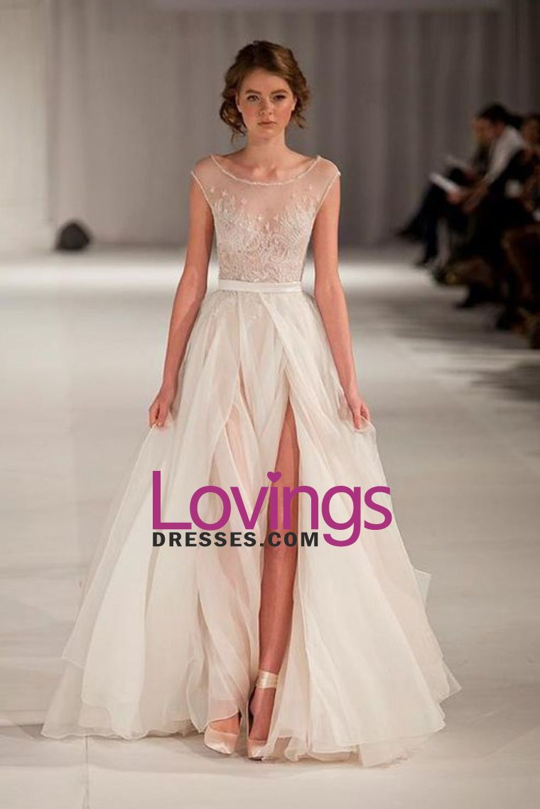 2b277d9a399d 2015 Sexy Prom/Wedding Dresses With High Slit A-Line Scoop Ivory Sweep/Brush  Train Chiffon With Embroidery