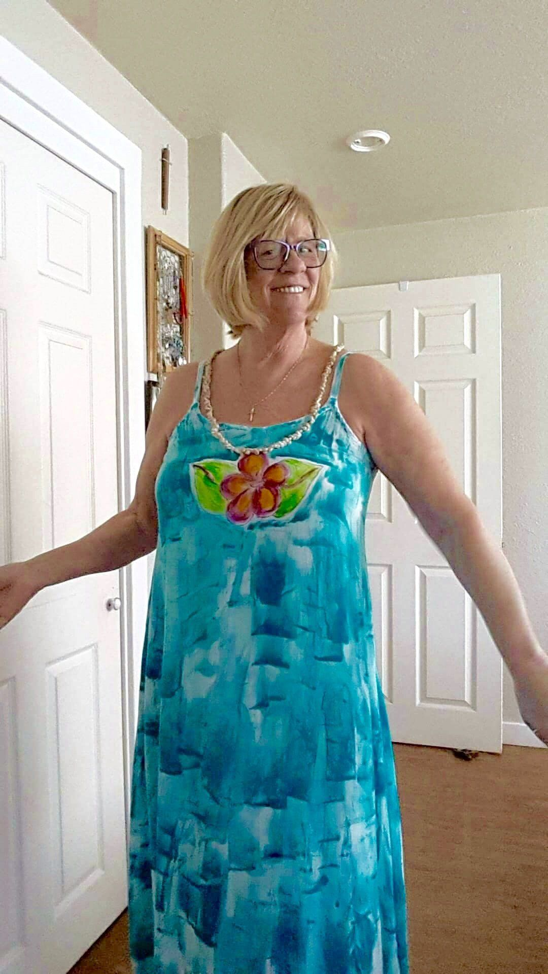 Hawaii Dress Maxi Dress Hand Painted Maxi Plus Size Beach