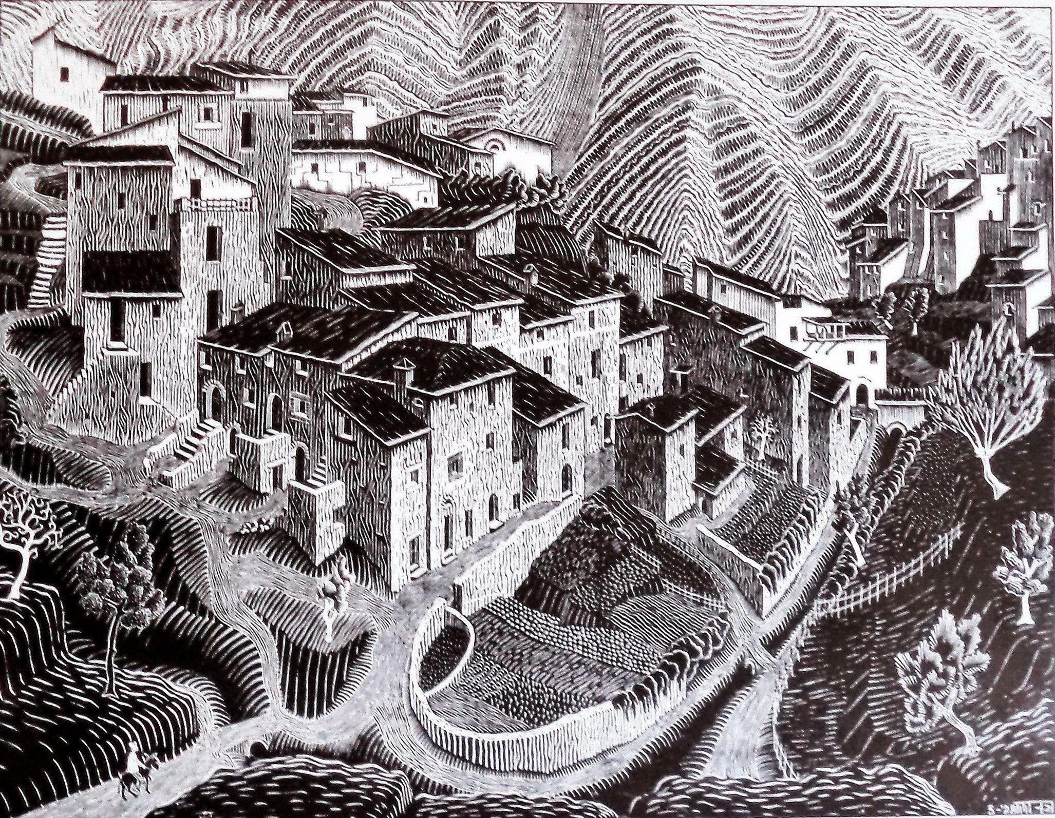 Escher Vintage Print Fara San Martino Woodcut 1928 Abruzzio