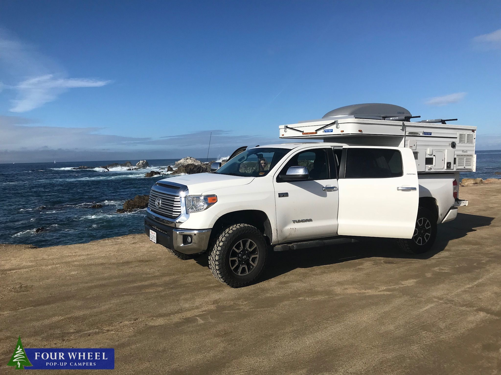 Overland Campers On A Toyota Tundra With A Gorgeous Ocean