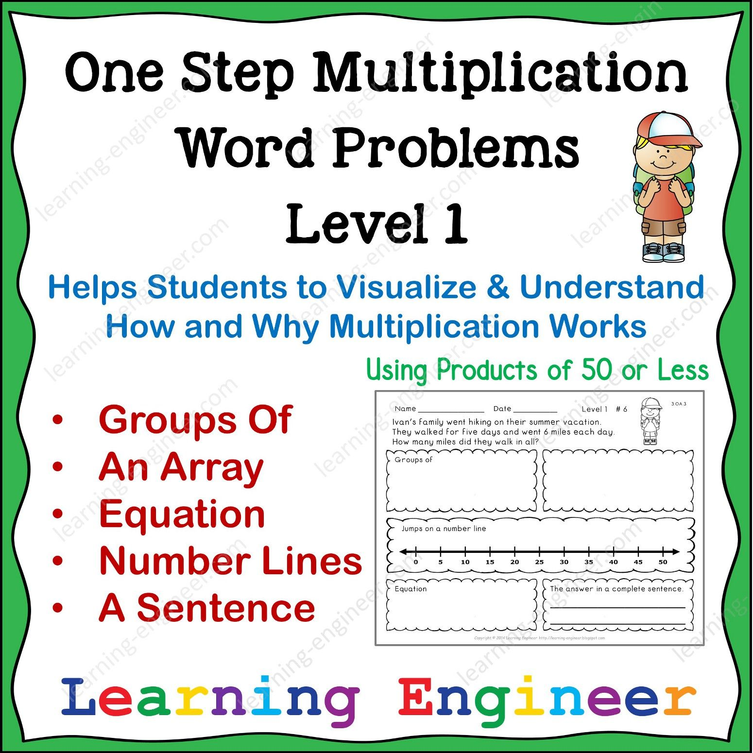 One Step Multiplication Word Problems Products Of 50 Or