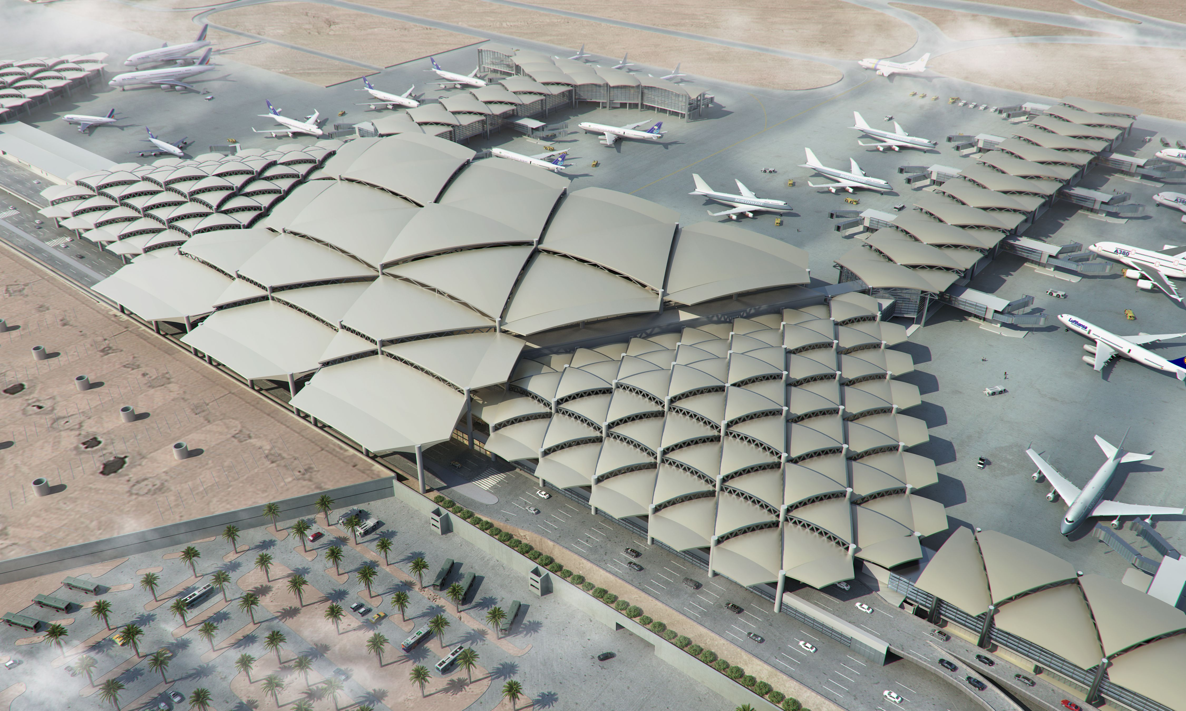 King Khalid International Airport Development And Expansion Riyadh Saudi Arabia The Expansion Of The Ter Airport Design Train Station Architecture Airport