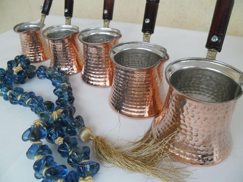 Cezve,Ibrik FREE SHIPPING Set of 5 Turkish Handmade Copper Pot Coffee Maker