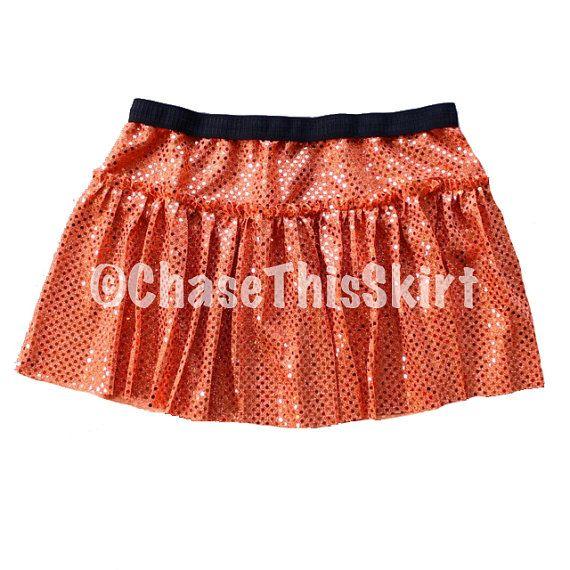 Sparkly Orange Running Skirt Orange Skirt by ChaseThisSkirt