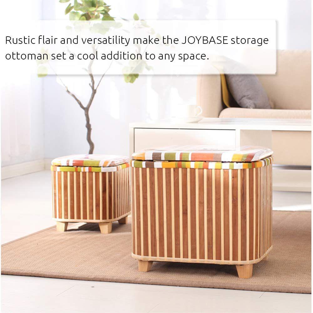 Amazon Com Joybase 2 Piece Storage Ottoman Set Footrest Stool