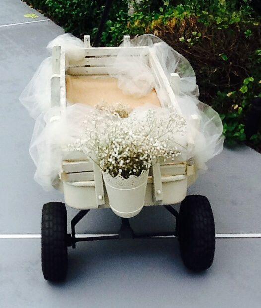 Small Flower Girl Wedding Wagon Gloss White or Ivory |Flower Girl Wagon Wedding Party