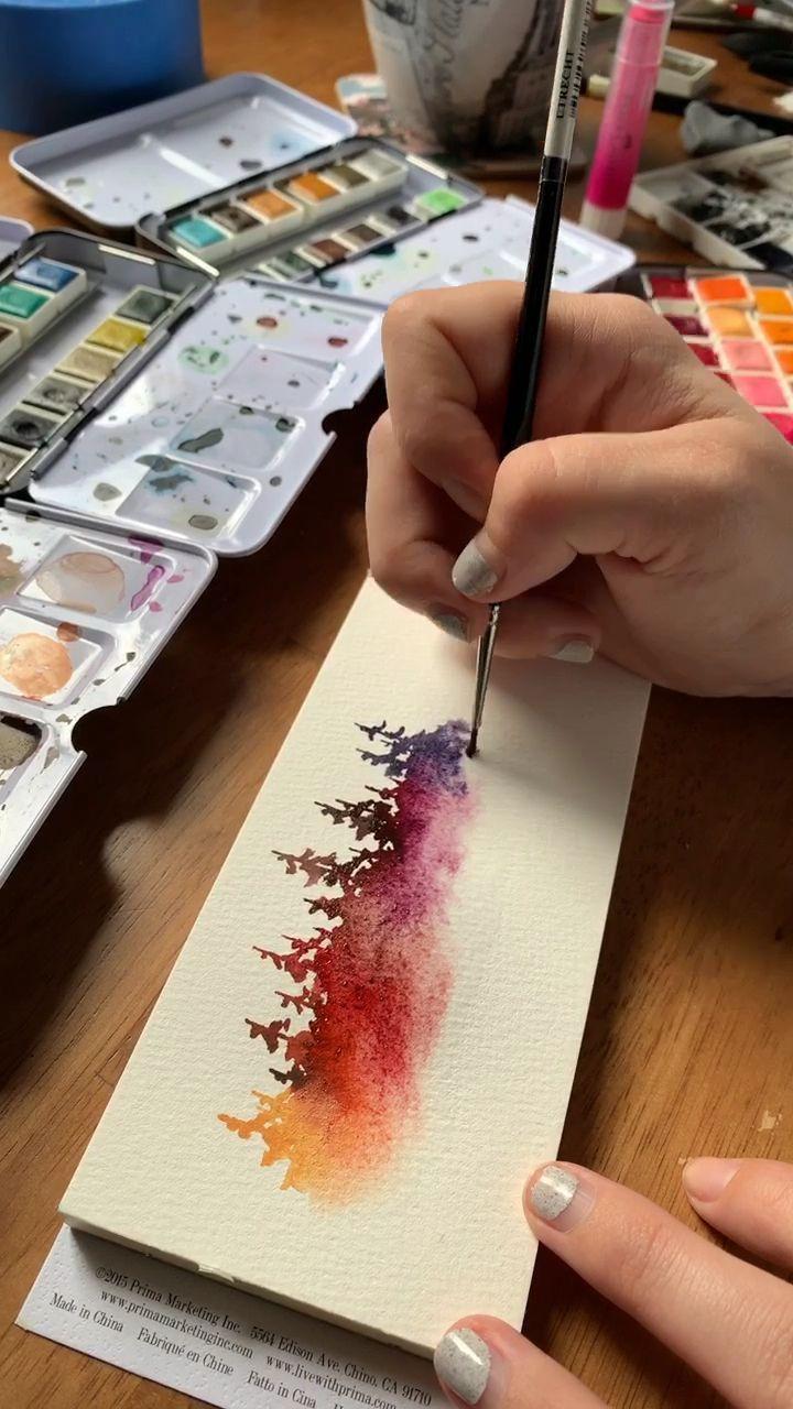 Unglaublich Stimmungsvoller Regenbogen Aquarell Kiefern