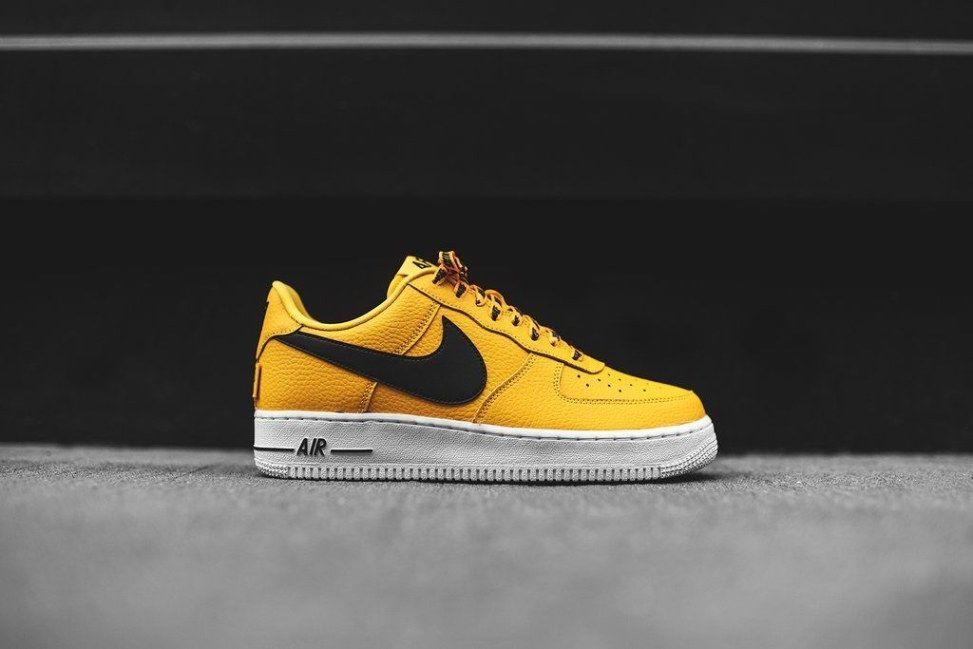 Nike 823511 701 Air Force 1 07 LV8 NBA Pack Mens Low Black Yellow