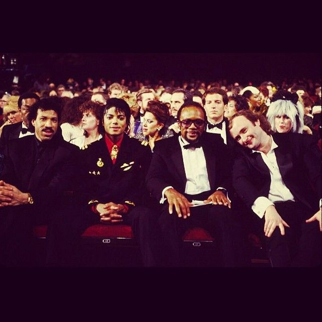 #tbt 1986 #regram from The GRAMMYs with Michael Jackson Quincy Jones and Phil Collins