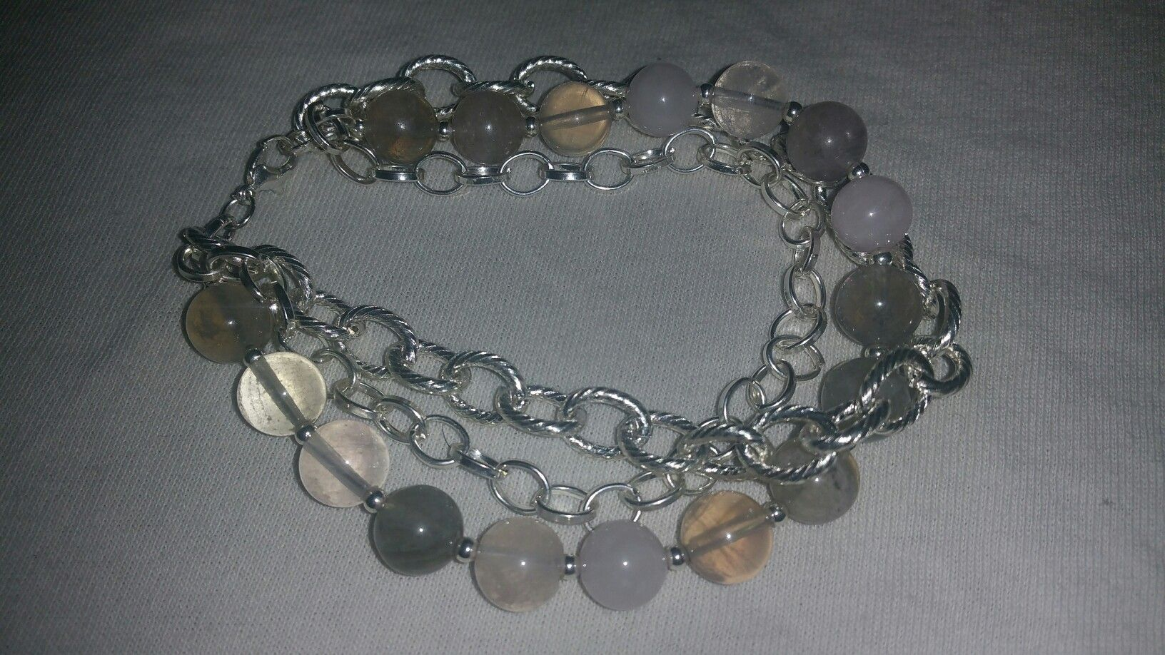 Quartz and 2 chain bracelet  by me
