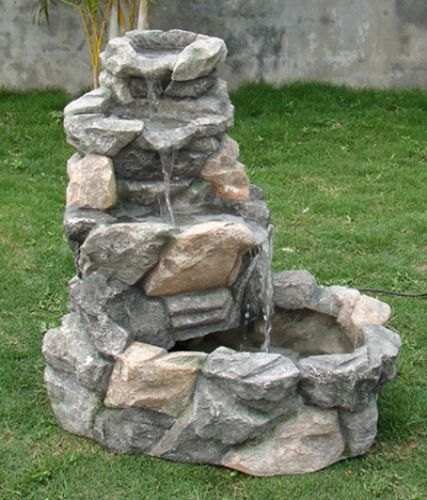 Rock creek three tier outdoor water fountain backyard for Garden rock waterfall fountain