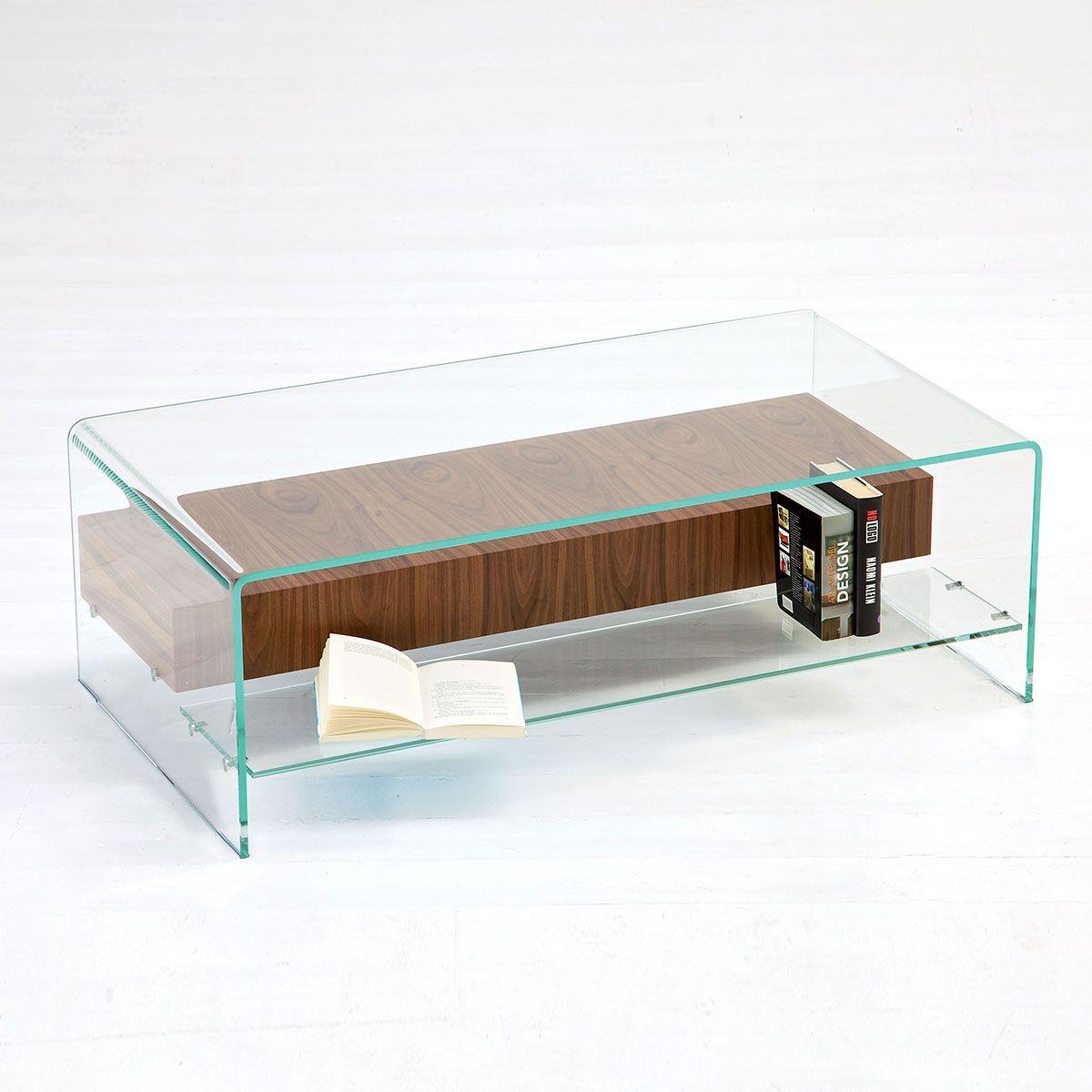 Bridge glass coffee table with shelf and drawer klarity