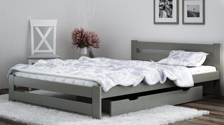 łóżko Szare Zagłówek Kada 140x200 Stelaż Eco Beds
