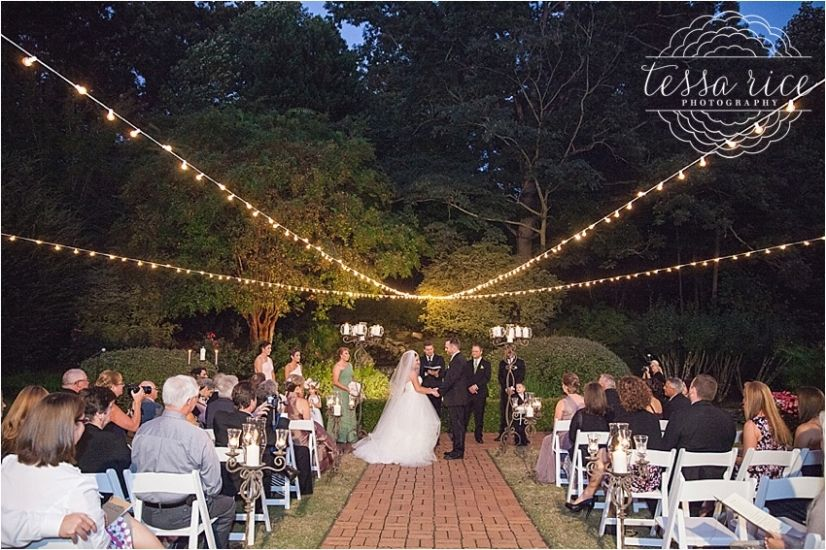 An Outdoor Wedding At Little Gardens In Lawrenceville, GA. Night Wedding  With Fairy Lights