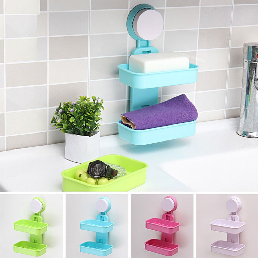 Strong Wall Suction Soap Tray Holder Dish Bathroom Shower Box Case Storage  Es