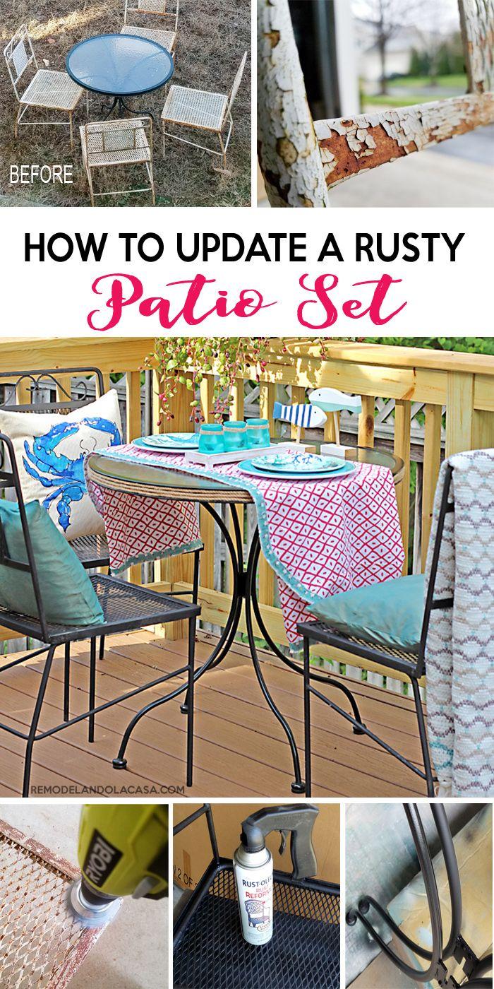 How to Refurbish a Rusty Wrought Iron Patio Set   Patio ...