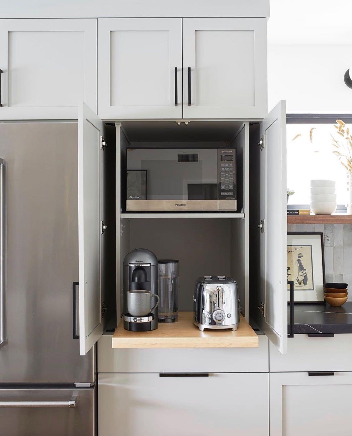 Kitchen Appliance Garage With Accuride Pocket Doors In 2020 Kitchen Appliance Garage Kitchen Appliance Storage Appliance Garage