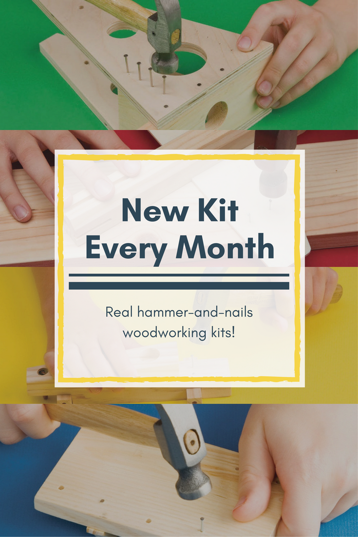 get a new kit every month with young woodworkers kit club