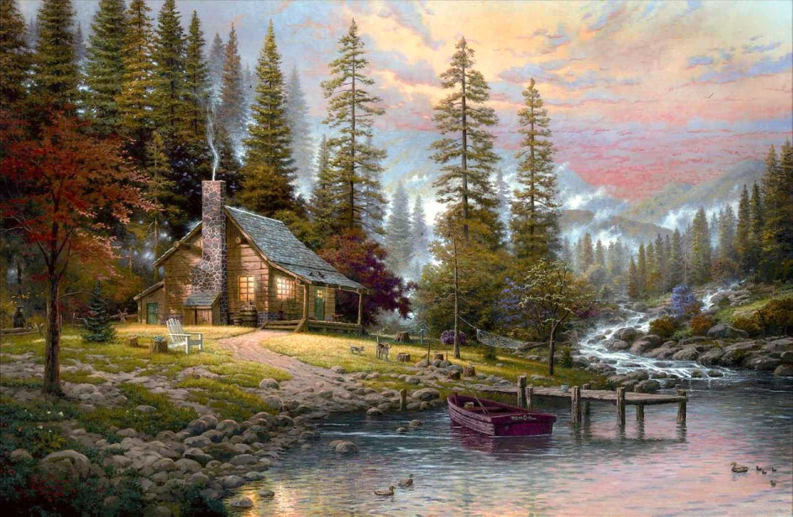Christmas Cabin Fireplace Wallpaper Wallpaper Kid