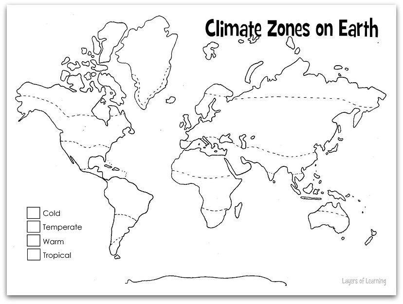 Printables Climate Zones Worksheet print and color this climate zones of earth map is both a refers to all the factors that make up weather particular place on it includes rain fall temperature wind