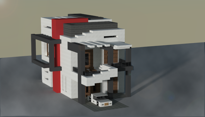 Small Modern House Made In Minecraft