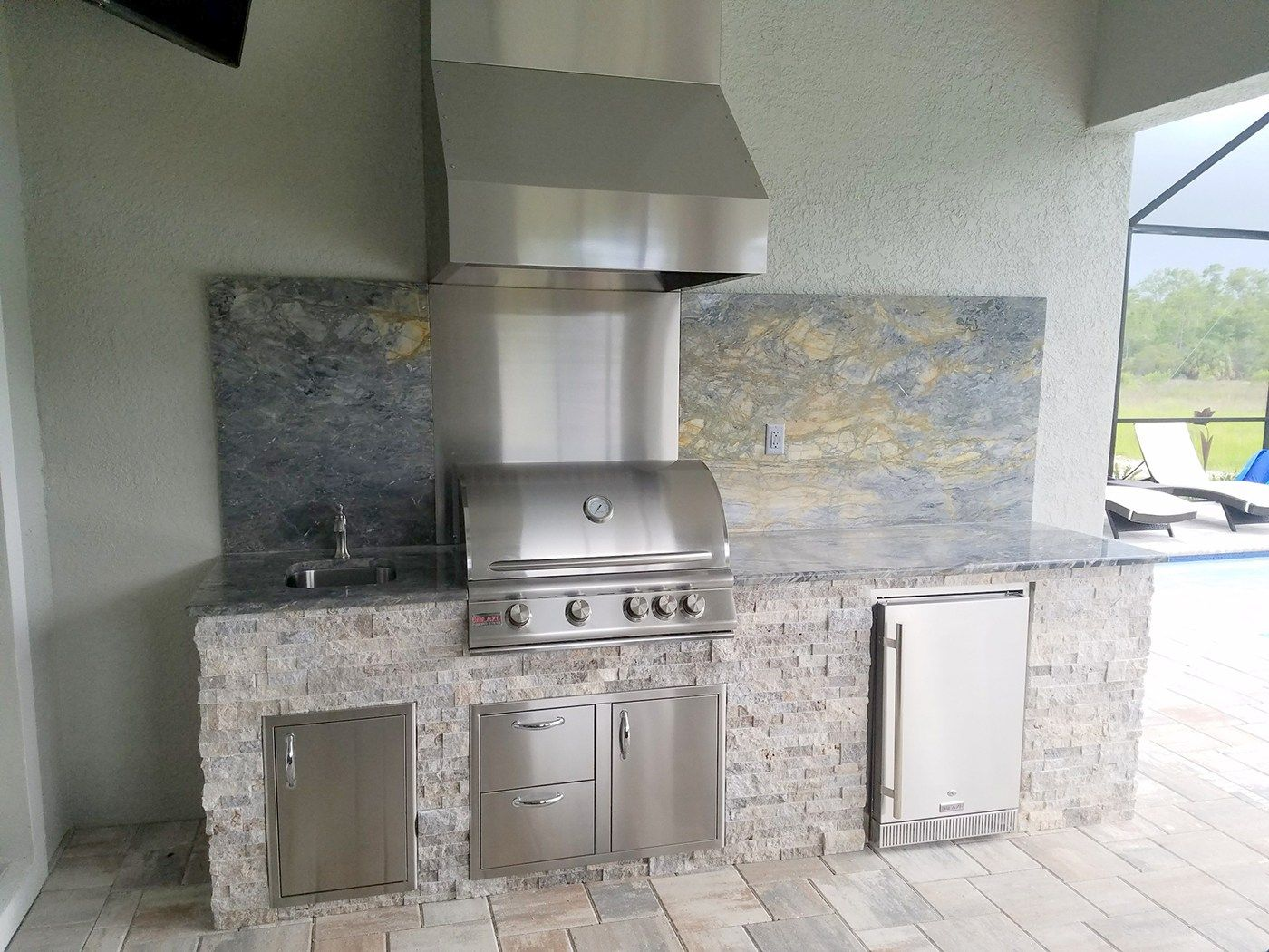 Arabescatus Oro Custom Outdoor Kitchen Summer Kitchen Barbecue Grill Outdoor