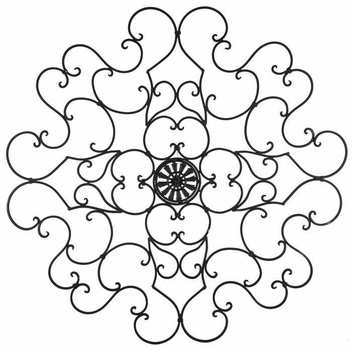 Round Black Metal Scroll Wall Decor | Outdoor metal wall ... on Hobby Lobby Outdoor Wall Decor Metal id=94722