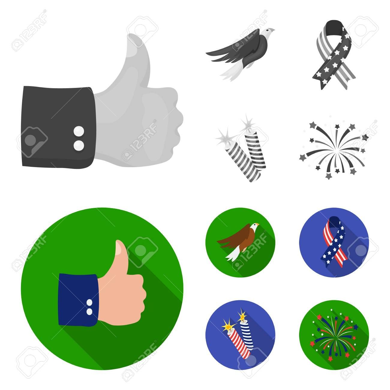 American eagle ribbon salute The patriot day set collection icons in monochromeflat style vector symbol stock illustration
