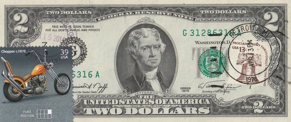2 DOLLARS 1976 STAMP CHOPPER C1970