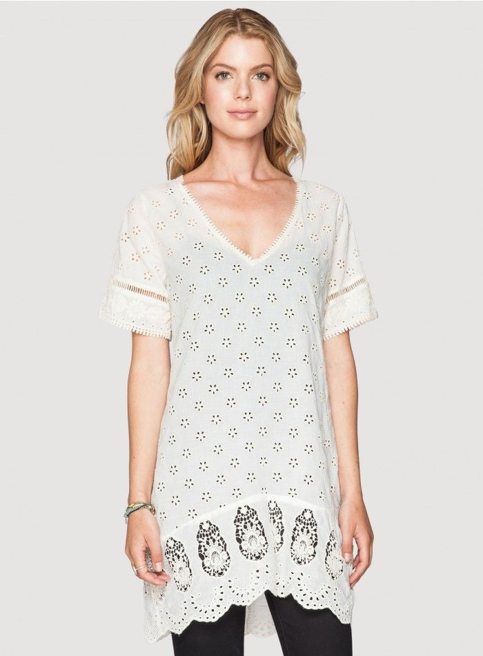2a93e9c9a62 Daisy Field Tunic The Johnny Was Daisy Field Tunic comes in comfy cotton  voile fabric. This tunic features delicate eyelet embroidery
