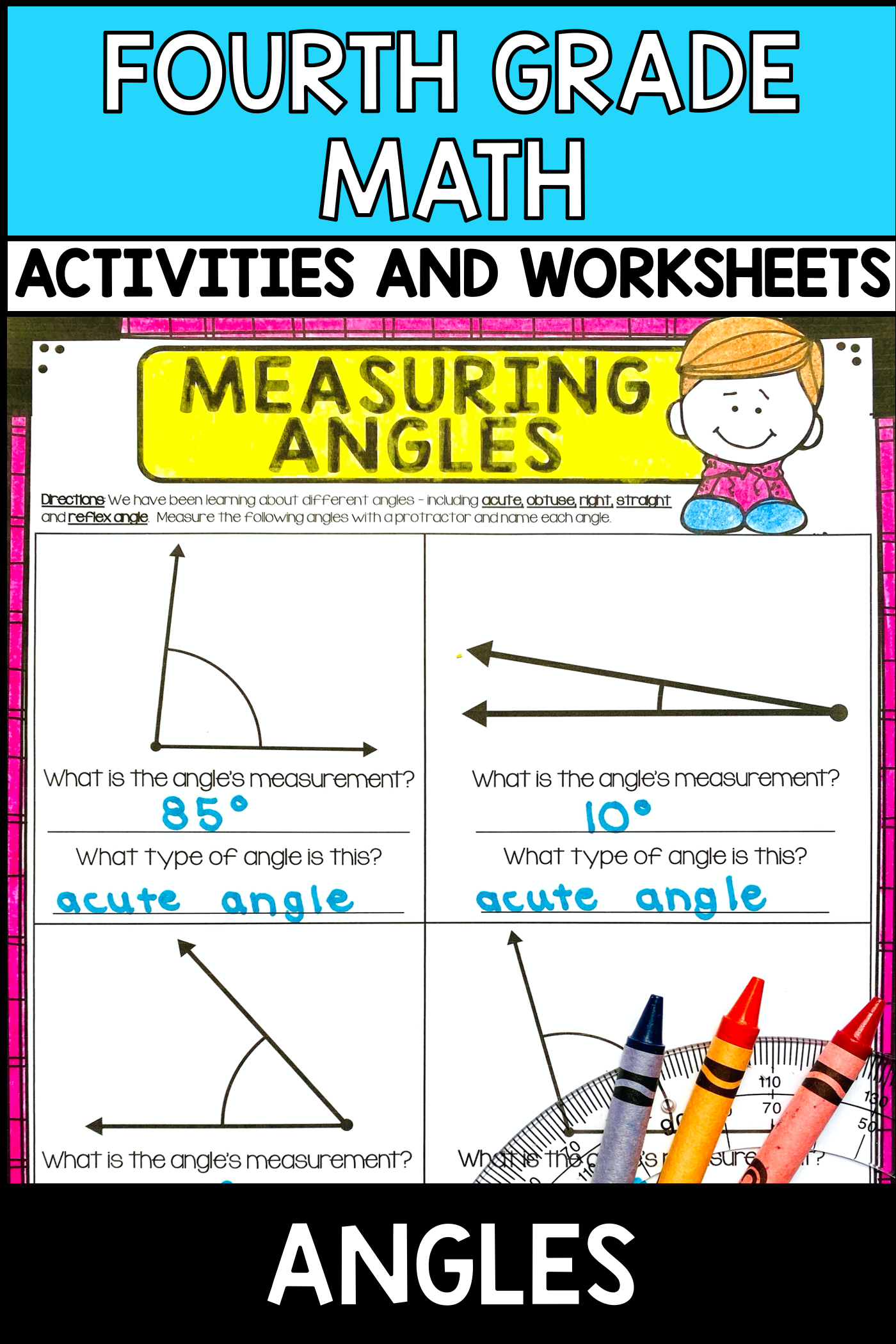 Angles 4th Grade No Prep Measuring Angles Types Of Angles Math Activities Elementary [ 2100 x 1400 Pixel ]