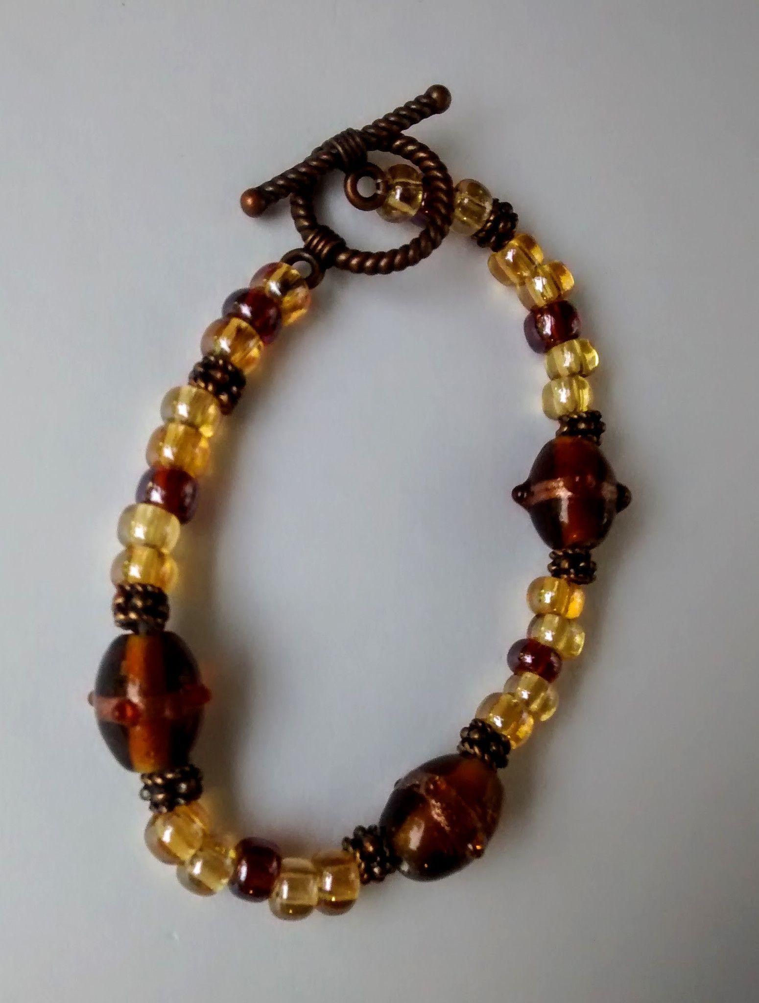 Amber Lampwork Single Strand Bracelet