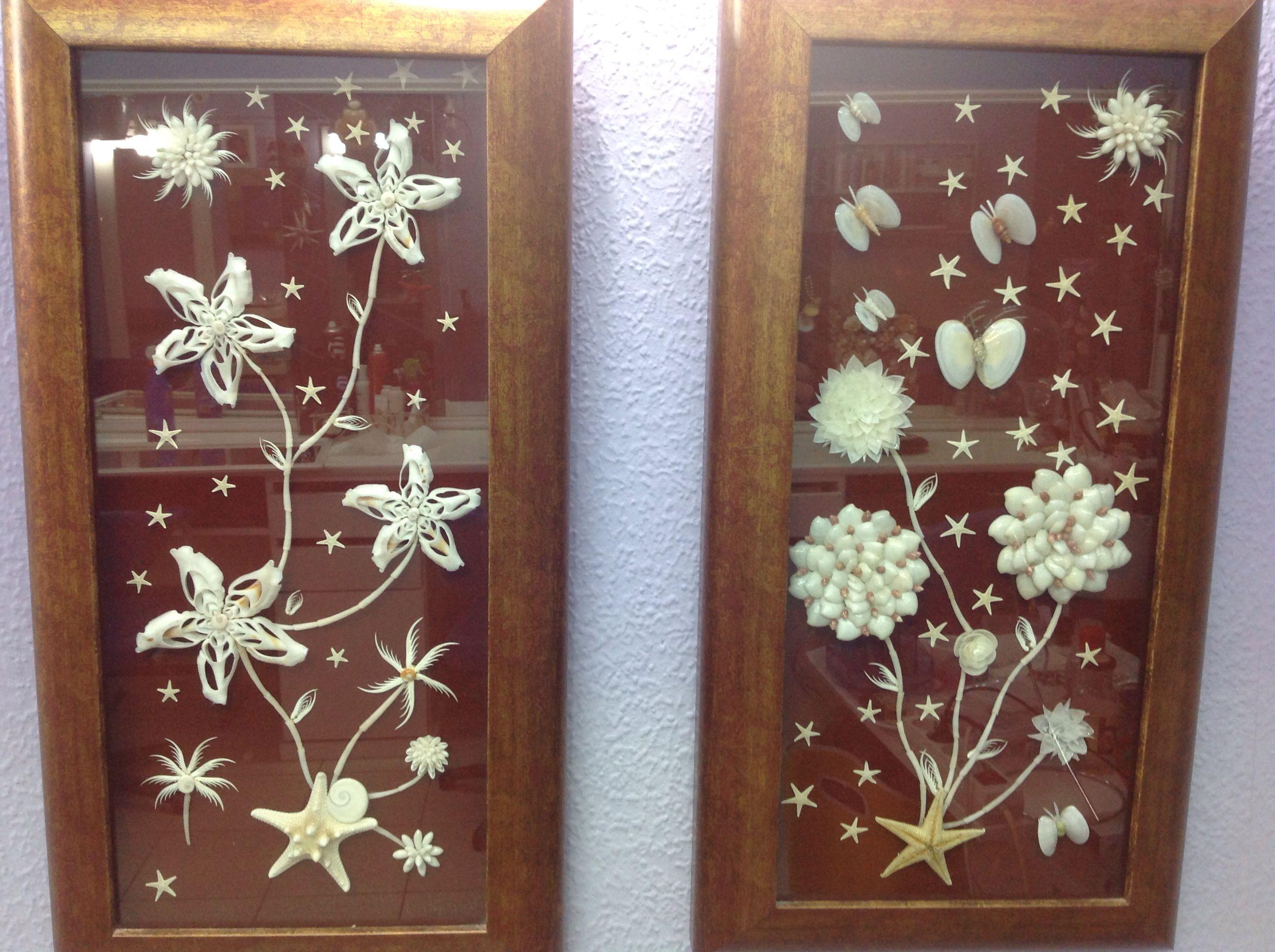 Composici n en cuadros de flores de conchas y estrellas de - Composicion de cuadros ...