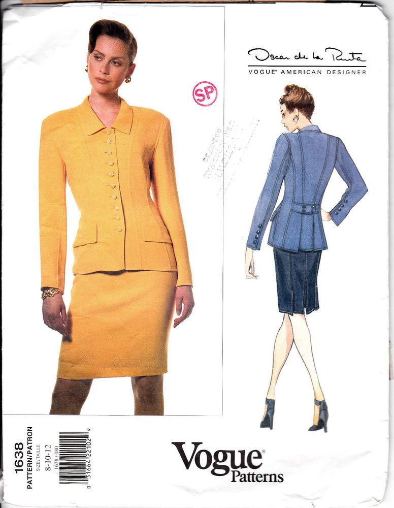 VOGUE 1638 Sew Pattern Oscar De La Renta Career Jacket Skirt Suit 8 ...