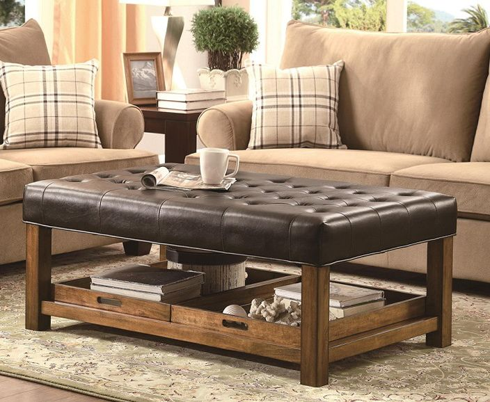 Tufted Leather Ottoman Coffee Table #leathercoffeetables living room ...