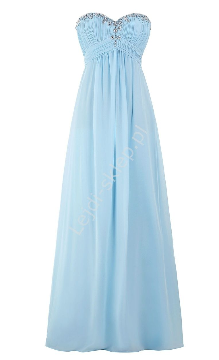 50c874e143 Szyfonowa skromna błękitna suknia