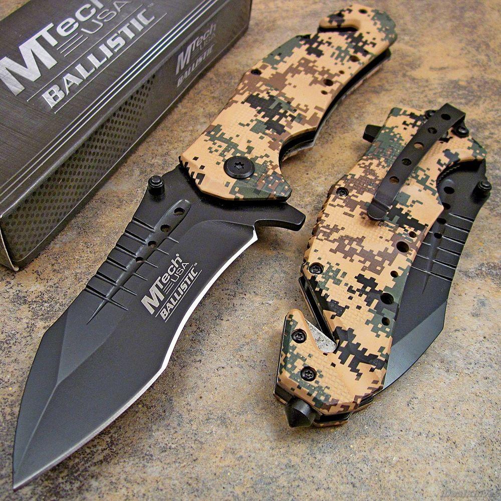 MTECH Tan Digital Desert Camo Tactical Rescue Spring Assisted Open Pocket Knife #MTech