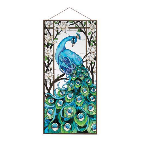 Peacock glass panel