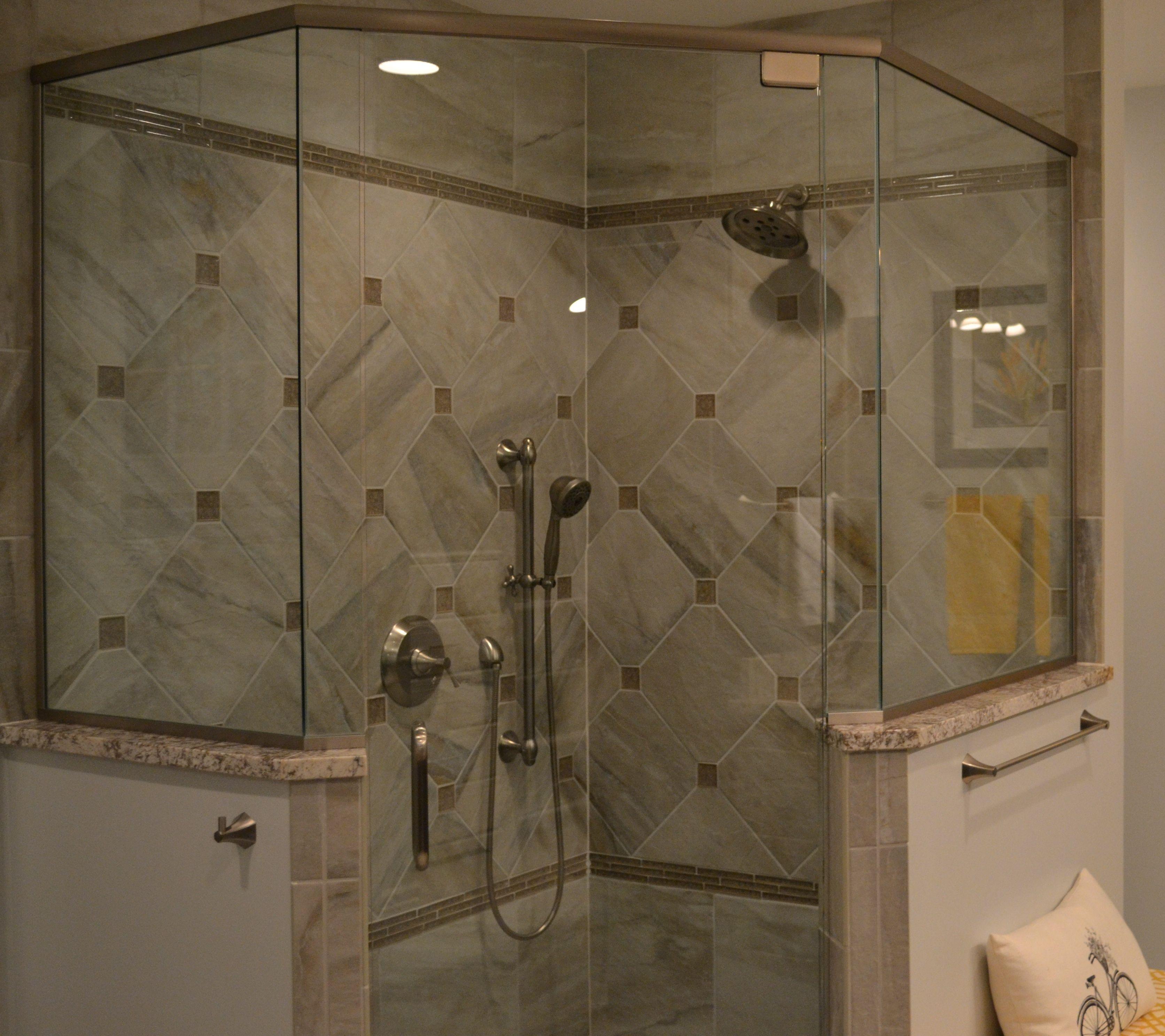 Custom master bath shower tile work and shower doors