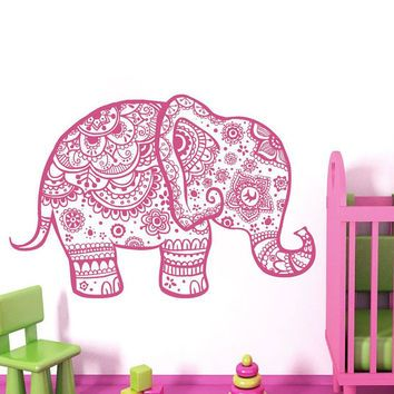 Wall Decal Elephant Vinyl Sticker Decals Home Decor Murals Indian ...