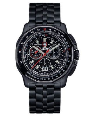 928fb273cac9 Luminox Mens F-22 Raptor Chronograph - Black PVD Titanium Case and ...