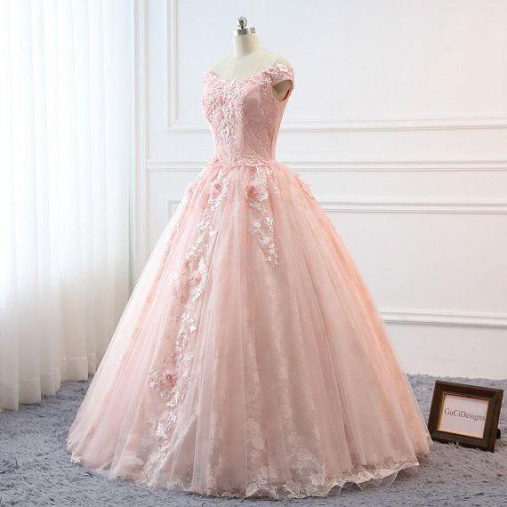 64f86f69964 Custom Women Light Pink Prom Dress Ball Gown Long Quinceanera Dress Floral  Flowers Masquerade Prom D