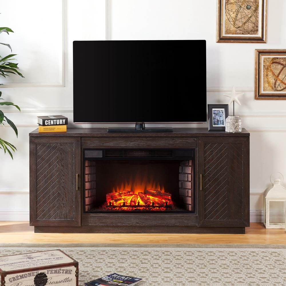 Southern Enterprises Torrens 65 In Electric Fireplace Tv Stand With 33 In Widescreen Firebox In White Limed Espresso Hd605968 The Home Depot Fireplace Tv Stand Electric Fireplace Tv Stand Big Lots Electric Fireplace
