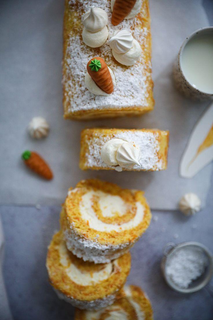 Rezept Carrot Cake Biskuitrolle | Zucker, Zimt und Liebe
