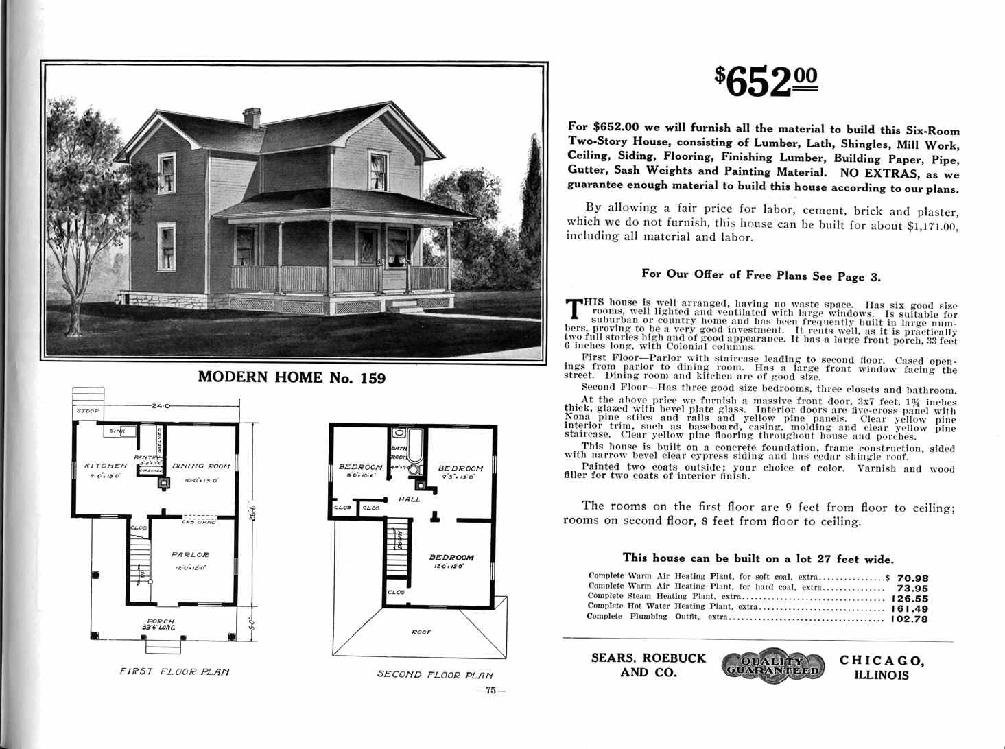 Sears Modern Home From The 1912 Catalog. Note That There Is Only One  Bathroom, Split Between Two Bedrooms.