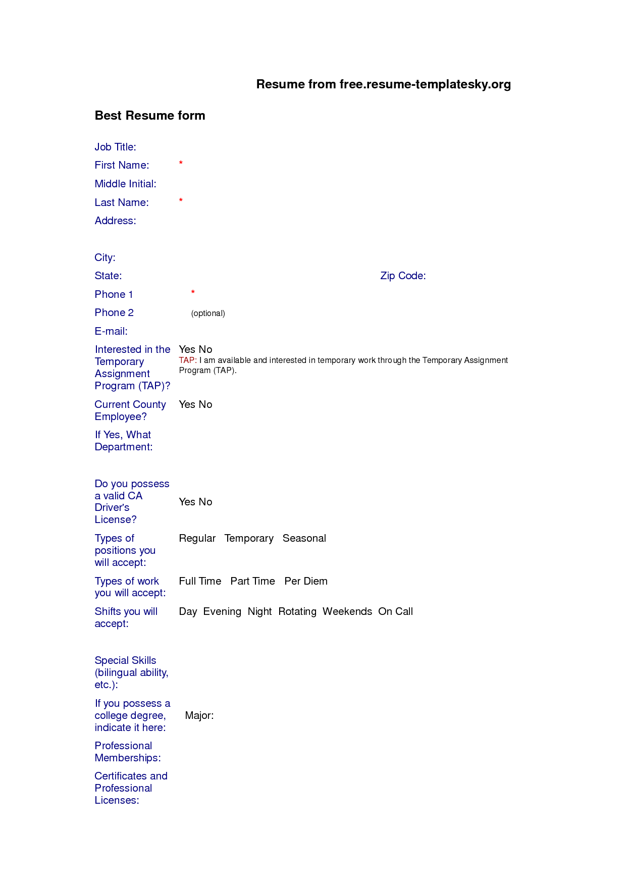 Blank Resume Format Free Download resumecareerinfo – Blank Resume Templates