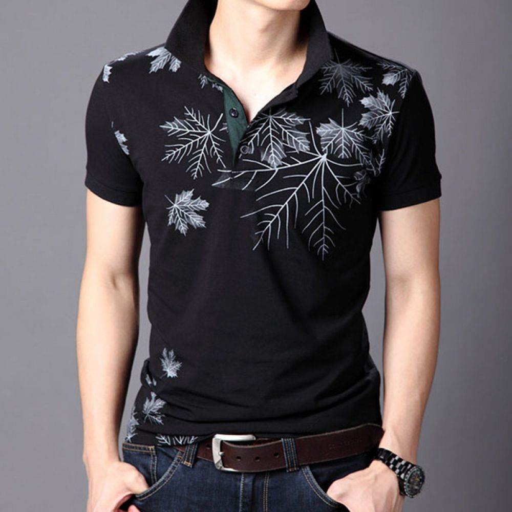 Fieer Mens Oversize Printed Summer Short Sleeve Tees Polo Shirts