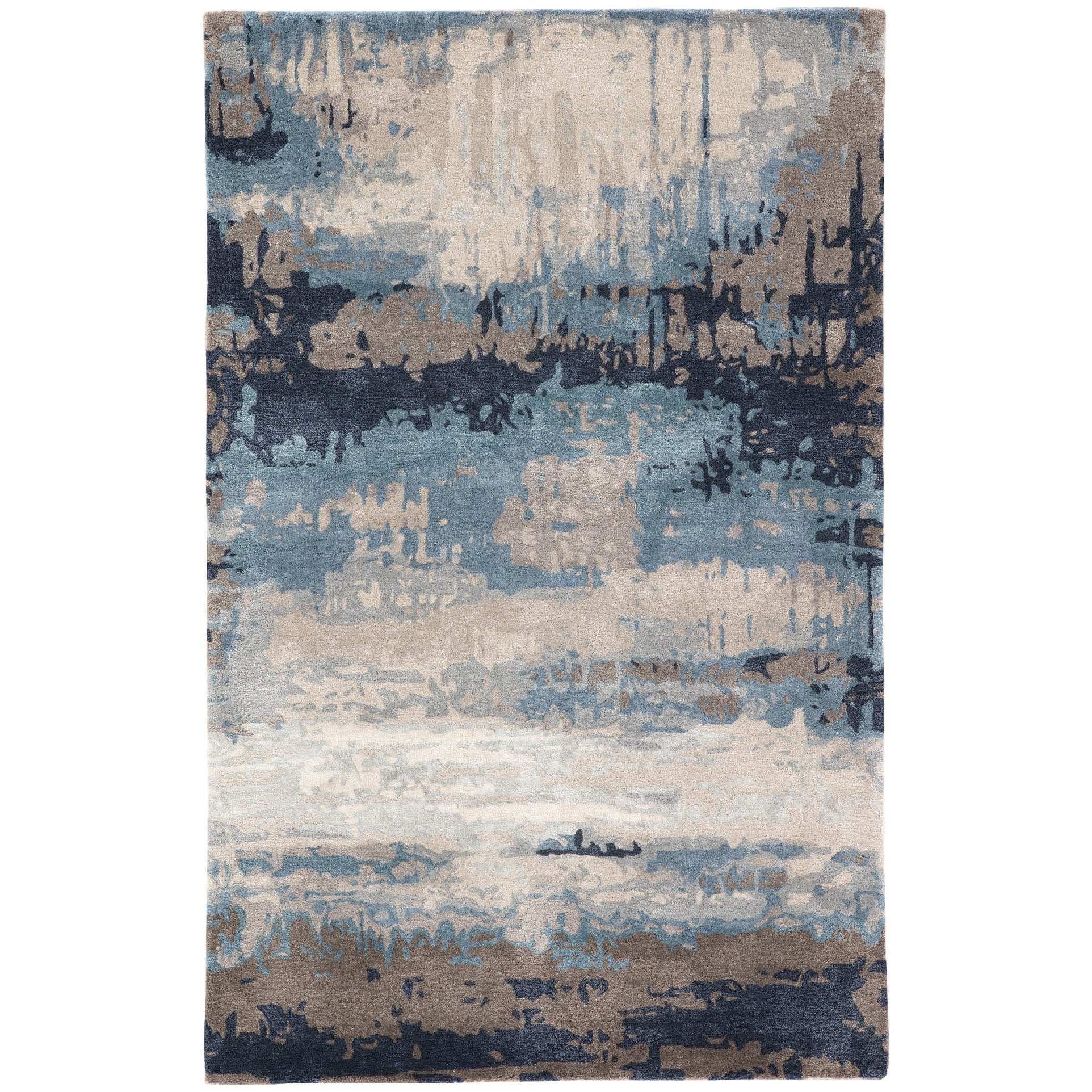 Porch Den Kellwood Handmade Blue Grey Abstract Area Rug Desain